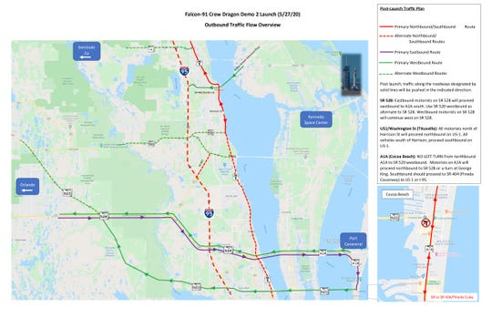 Brevard County officials recommend spectators in town for the SpaceX Crew-2 launch follow these traffic flow guidelines.