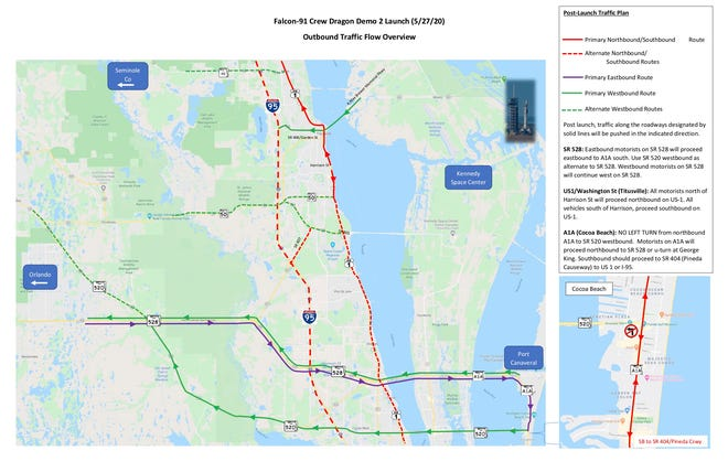 Brevard County officials recommend spectators in town for the SpaceX Crew-2 launch follow these traffic flow guidelines.  - b5304f4c b0af 4a9d b645 639292d20a3f saturday traffic - Space Coast tourism expects boost from SpaceX launch of astronauts