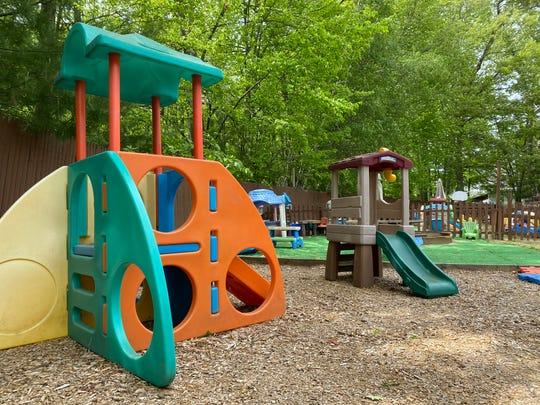Outdoor playground space is expected to be used more when Frog & Toad Child Care & Learning Center reopens in June 2020 after being closed during the pandemic. Director Tiffany Bergeron believes social distancing will be better maintained outdoors. May 28, 2020.