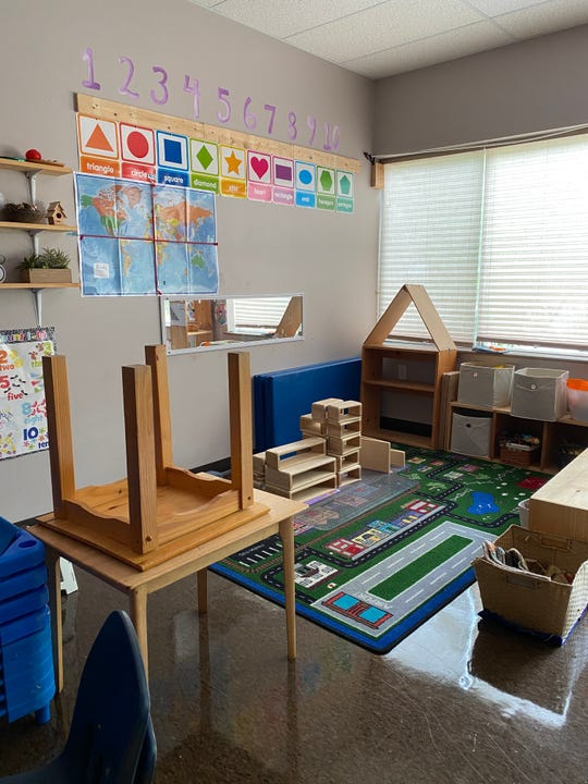 Learning spaces have been modified to reflect safety guidelines at Frog & Toad Child Care & Learning Center in Essex on May 28, 2020. Hard surface items, like wood, remain while many soft items, such as stuffed animals, puppets and dress up clothes have been removed. Mats will be sprayed multiple times a day with quick-curing disinfectant when the center reopens in June 2020. The center was closed for nearly three months during the COVID-19 pandemic.