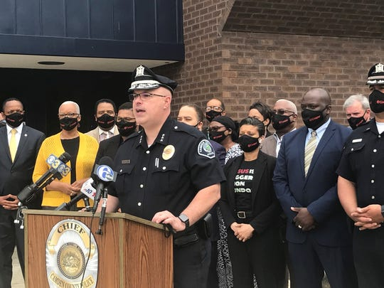Camden County Police Chief Joseph Wysocki appears Thursday with officers and clergy members outside his department's headquarters.
