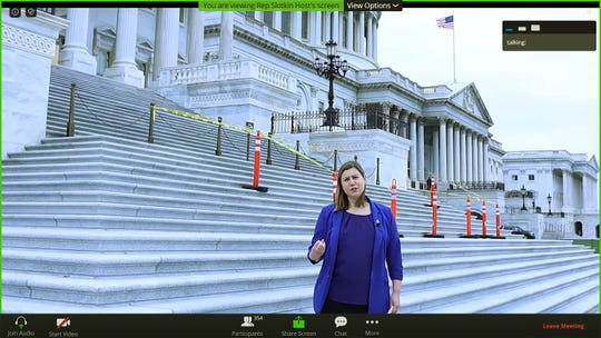 In this Zoom meeting screen capture, U.S. Rep. Elissa Slotkin, D-Holly, takes eighth-grade students on a virtual tour Friday of Washington D.C. The tour included a prerecorded video as well as a live question-and-answer session.