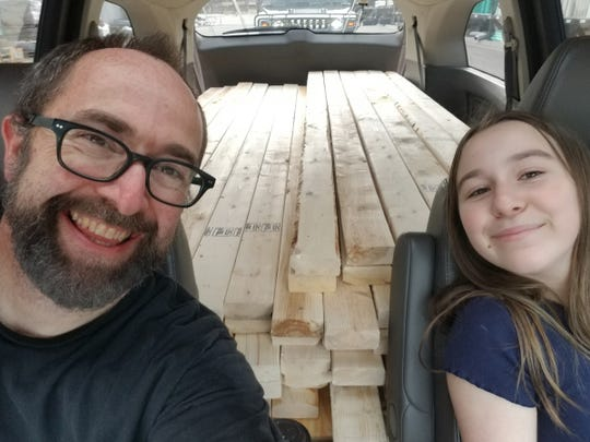 Whitney Lemelin with daughter Ellie, 13, who helped plan and build the skate ramp. She was a regular at Ferndale's skateboard park until is was closed by the COVID-19 outbreak.