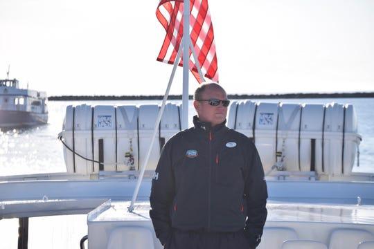 Chris Shepler aboard the motor vessel Wyandot on Mackinac Island, May 12, 2018.