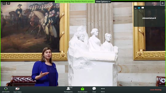 In this screen capture from a Zoom meeting, U.S. Rep. Elissa Slotkin, D-Holly, gives eight-grade students a virtual tour Friday of Statuary Hall in the U.S. Capitol.