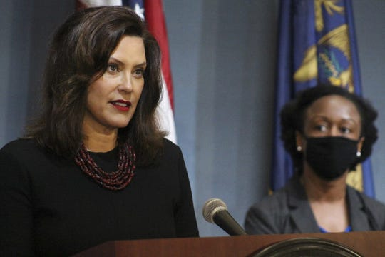 Governor Gretchen Whitmer gives an update on COVID-19 during a press conference on May 29, 2020.