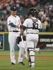 Detroit Tigers pitcher Armando Galarraga greets catcher Alex Avila, after Galarraga's near perfect game against the Cleveland Indians, Wednesday, June 2, 2010 at Comerica Park.