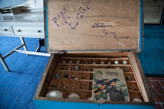 A bird egg table made by the first African American businessman John C. Johnson along with other artifacts and records are being temporarily stored at the Midland Center for the Arts in Midland, on May 28, 2020.