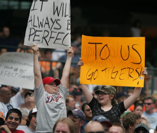 Detroit Tigers fans show support with a sign for Armando Galarraga during action against the Cleveland Indians, Thursday, June 3, 2010 at Comerica Park.