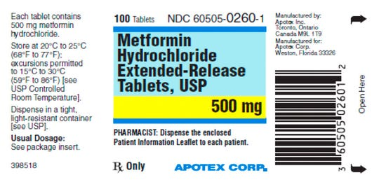 This image made available by the U.S. Food and Drug Administration on Thursday, May 28, 2020 shows a label for the drug metformin. U.S. health regulators are telling five drugmakers to recall versions of the widely used diabetes medication after testing revealed elevated levels of a contaminant linked to cancer in several lots.