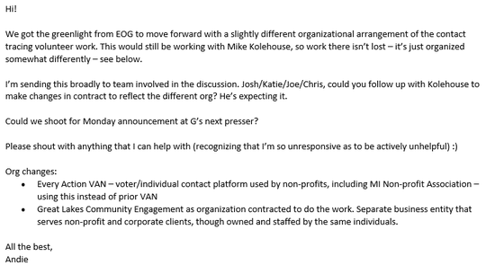 """An employee of the Michigan Department of Health and Human Services sends a message on  April 17, 2020, about having the """"green light"""" from the governor's office on a  contact-tracing contract arrangement."""