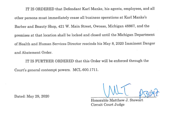 Shiawassee County Circuit Judge Matthew Stewart issued his preliminary injunction order on Friday, May 29, 2020.