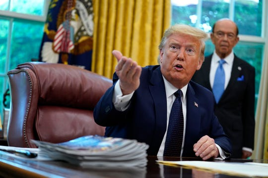 President Donald Trump speaks as he receives a briefing on the 2020 hurricane season in the Oval Office of the White House, Thursday, May 28, 2020, in Washington.