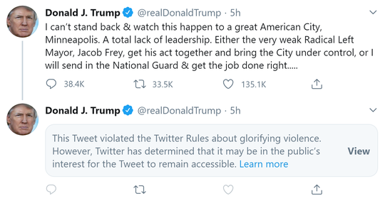 A second tweet by President Donald Trump about the protests in Minneapolis was put behind a warning by Twitter.