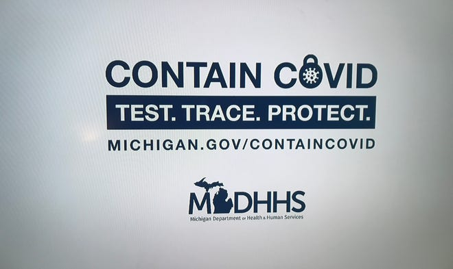 A television advertisement informs viewers about Michigan's contact-tracing program for trying to stem the spread of COVID-19.