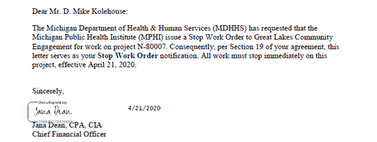 A stop work order sent to Great Lakes Community Engagement is dated April 21, 2020.