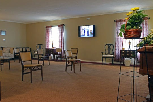 The Herman-Veh Funeral Home and Cremation Serviices in Gibsonburg is set up to promote social distancing.