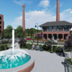 Central square and club house: This rendering provided by the Greenville County Redevelopment Authority on May 27, 2020, shows another view of a proposed central square at the vacant Poe Mill site just outside Greenville.