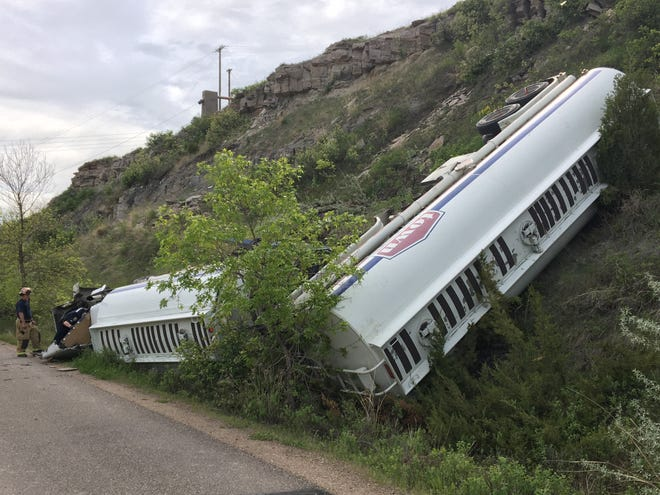 A fuel truck went off the road on River Drive near 25th Street North Friday morning and came to a rest right near the River's Edge Trail in Great Falls.