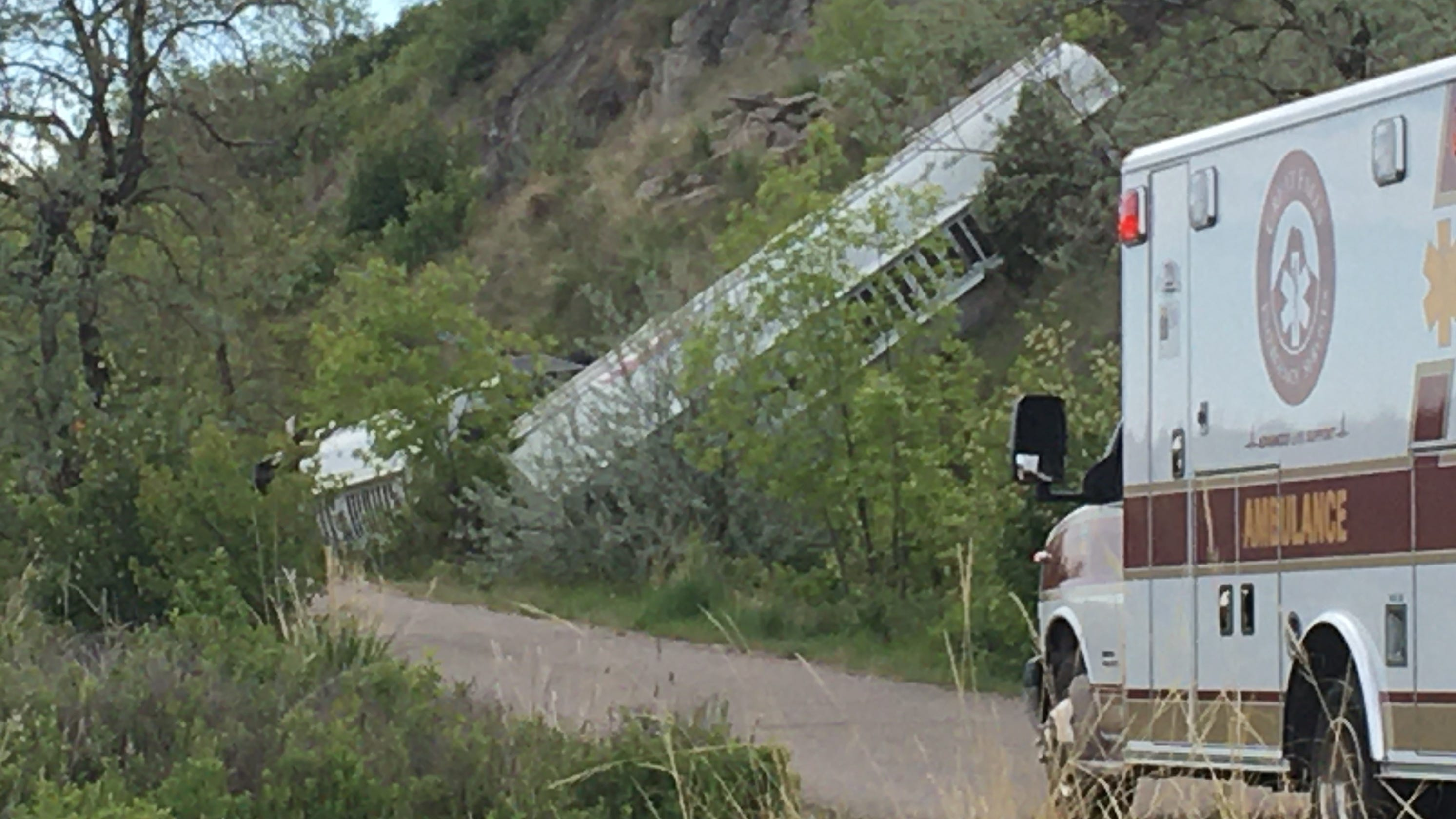Fuel truck goes off road on River Drive in Great Falls above Black Eagle Dam
