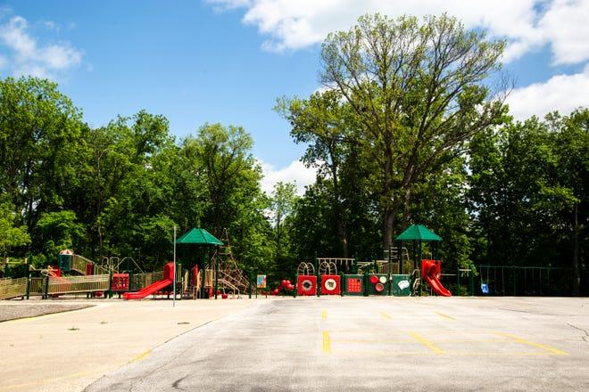 Playground equipment is seen, Friday, May 29, 2020, at Shimek Elementary School in Iowa City, Iowa. Playgrounds are seen, Friday, May 29, 2020, at Shimek Elementary School in Iowa City, Iowa.