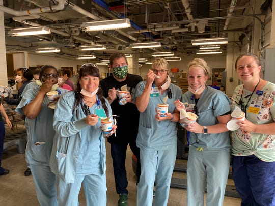 As a thank-you to medical staff working during the coronavirus pandemic, Milwaukee Bucks president Peter Feigin helped deliver pints of ice cream to Froedtert Hospital nurses Thursday afternoon.