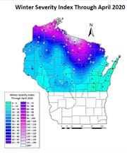The winter of 2019-20 had an average severity index of 65, or moderate, at stations across northern Wisconsin, but severe and very severe conditions were recorded at some sites in the far north.