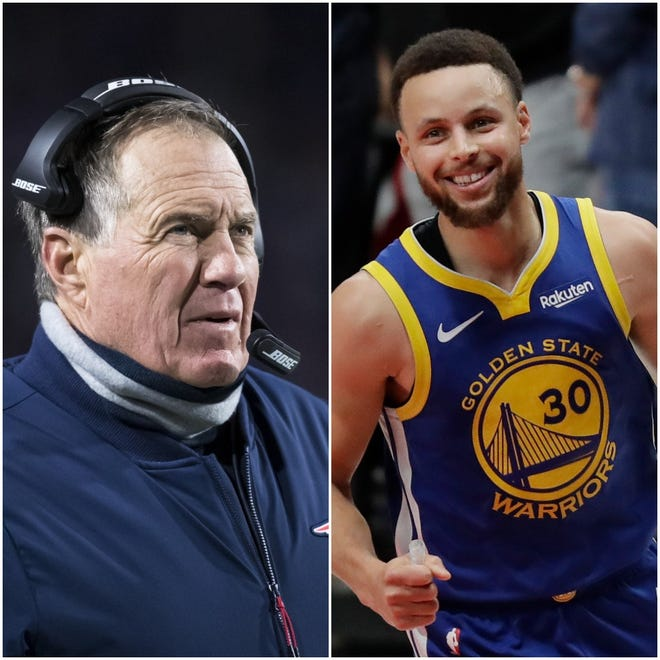 New England Patriots coach Bill Belichick (left) and Stephen Curry of the Golden State Warriors will present awards during the annual All-Area Stars Awards show on June 18.