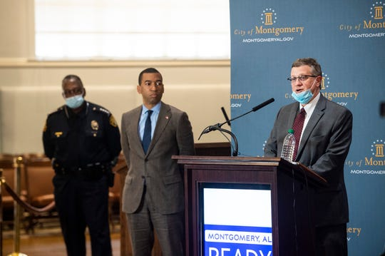 Alabama State Health Officer Scott Harris during a press conference at City Hall in Montgomery, Ala., on Friday, May 29, 2020.
