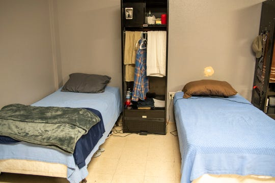 Beds at La Pasada, a different halfway house in Albuquerque. Social distancing in such tight quarters is all but impossible.