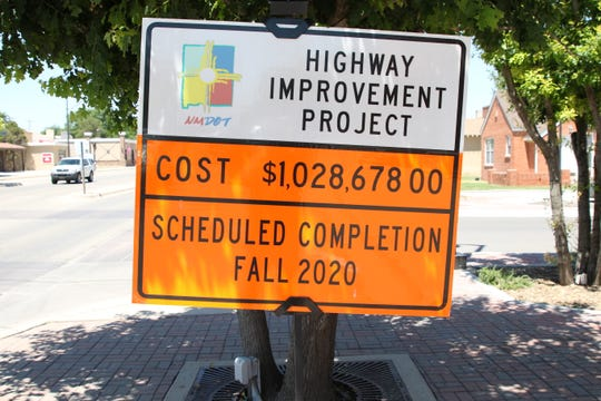 A New Mexico Department of  Transportation sign indicates construction work taking on place on West Main Street in Artesia on May 29, 2020. DOT is looking for temporary workers in Carlsbad and Hobbs.