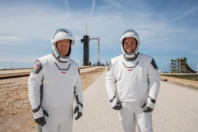 NASA astronauts Douglas Hurley, left, and Robert Behnken participate in a dress rehearsal for launch at the agency's Kennedy Space Center in Florida on May 23, 2020, ahead of NASA's SpaceX Demo-2 mission to the International Space Station.