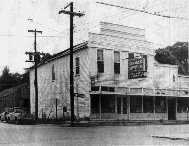 Dimmick Supply Company in the old Fred Sandoz/Dejean Grocery building on the corner of W. Landry and Liberty streets. The building was demolished in 1962.  Photo from c.1950s.