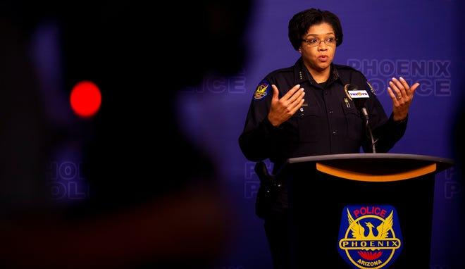 Phoenix Police Chief Jeri Williams speaks during a press conference regarding protests the previous night on May 29, 2020, at Phoenix Police Headquarters in Phoenix.