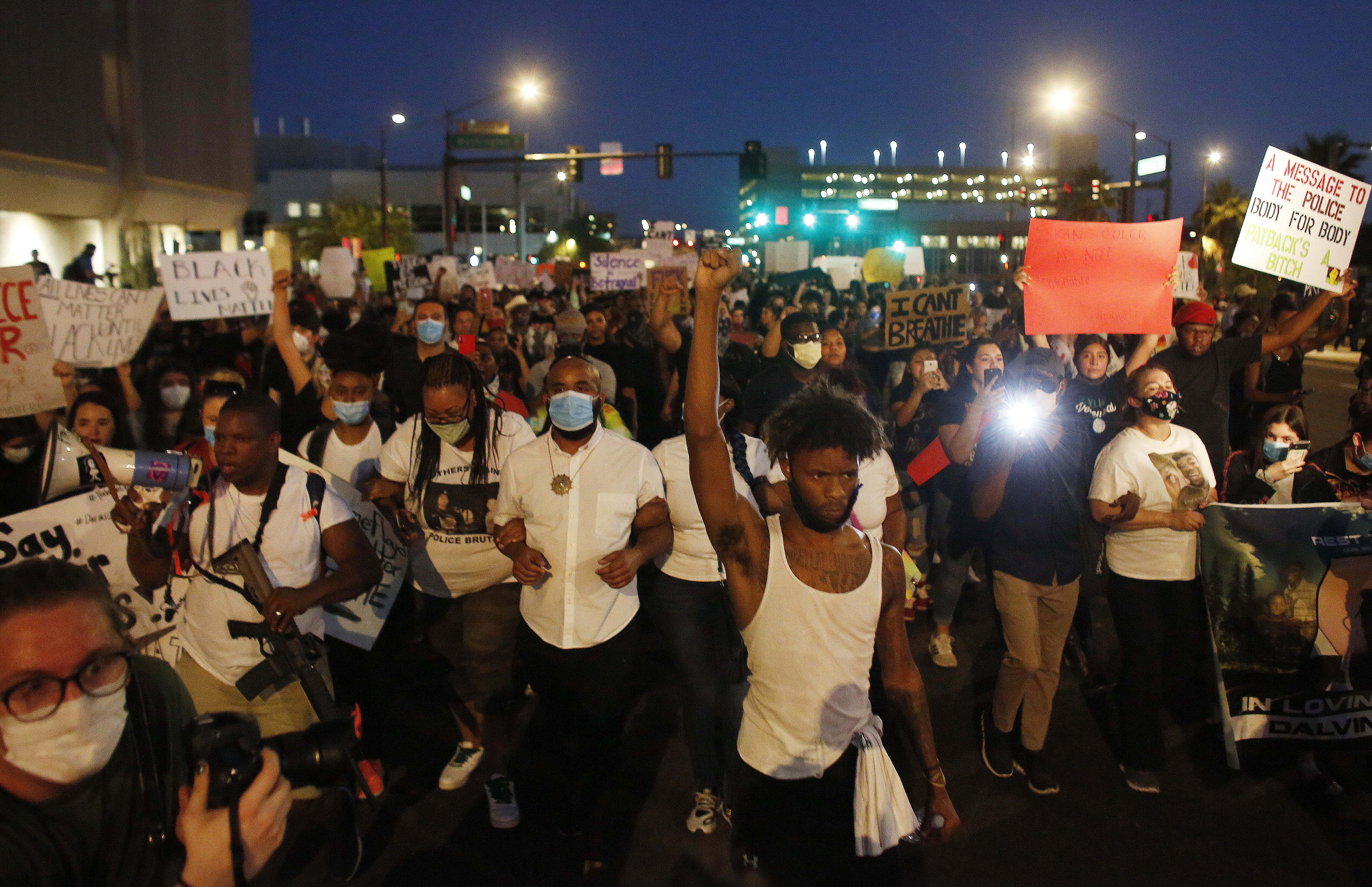 Hundreds protest in downtown Phoenix over George Floyd's death; pepper spray used on protesters