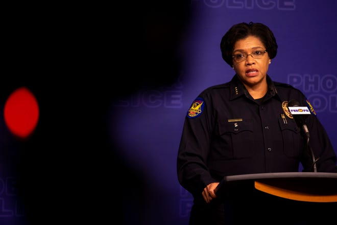 Phoenix Police Chief Jeri Williams speaks at a news conference on May 29, 2020, at Phoenix police headquarters about a protest the previous night.