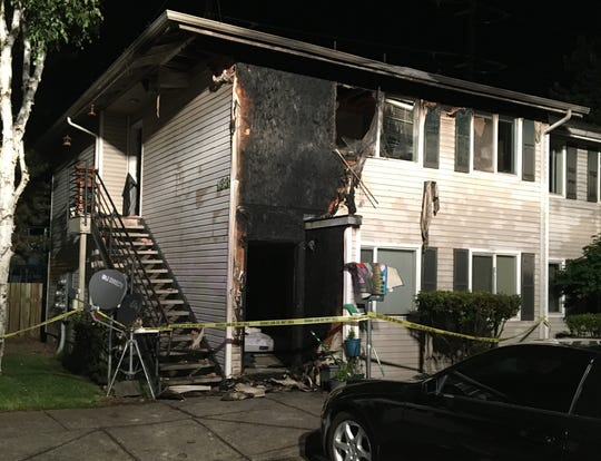 Residents of two apartments in the 100 block of Stafford Lane NE were displaced in a late-night fire on May 29, 2020.