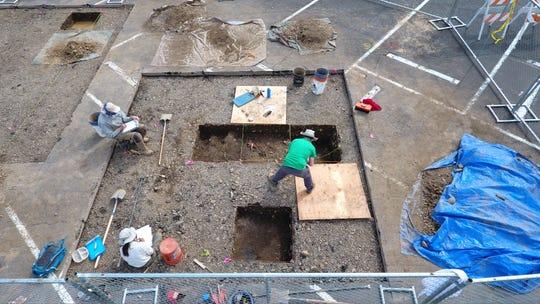 Volunteers work at the Jason Lee archaeological site on Broadway Street NE in Salem.
