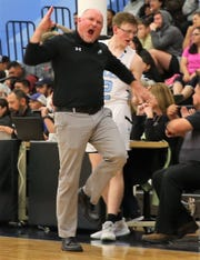 TLCA boys basketball coach Kent Sherrill gets fired up during a home game against Wall in the 2019-20 season.