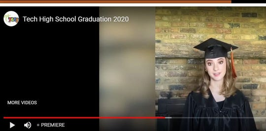 Katie Poetz, a 2020 Tech High School graduate, gives a speech during the virtual commencement Thursday, May 28, 2020.