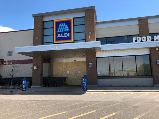 Aldi in Waite Park was boarded up by 2:30 p.m. Friday. A sign said the store would reopen Saturday.