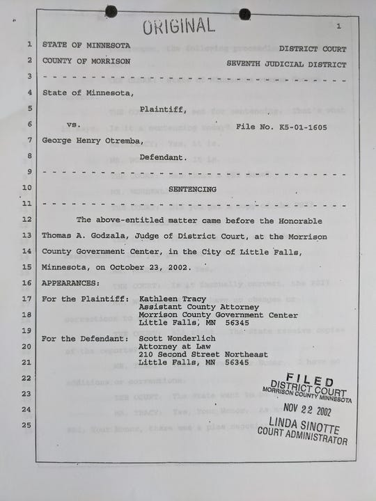 The front page of the transcript of the sentencing hearing of George Otremba in 2002 for a conviction of second-degree criminal sexual conduct in Morrison County Court.
