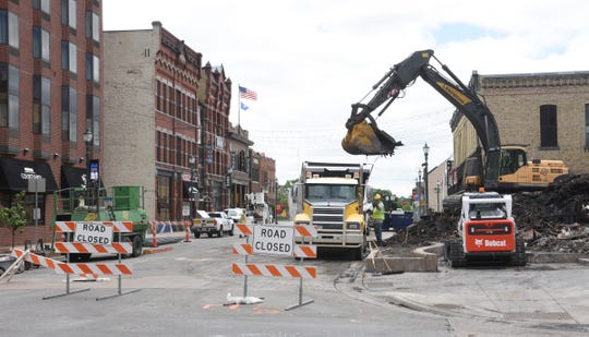 Fifth avenue is closed Friday, May 29, 2020, in St. Cloud.