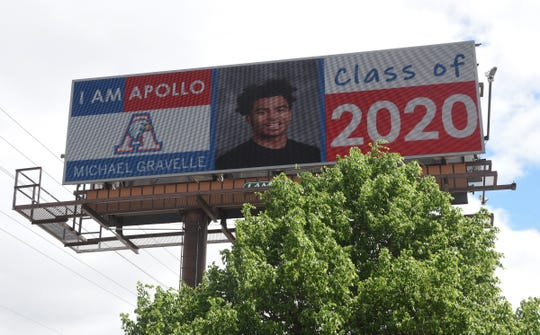 Electronic Signs on Division St. congratulate Apollo graduates of the Class of 2020 Friday, May 29, 2020, in St. Cloud.