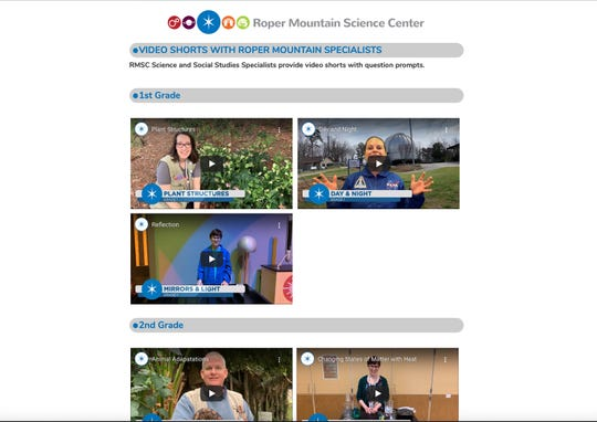 A screen shot from the Roper Mountain Science Center Website.