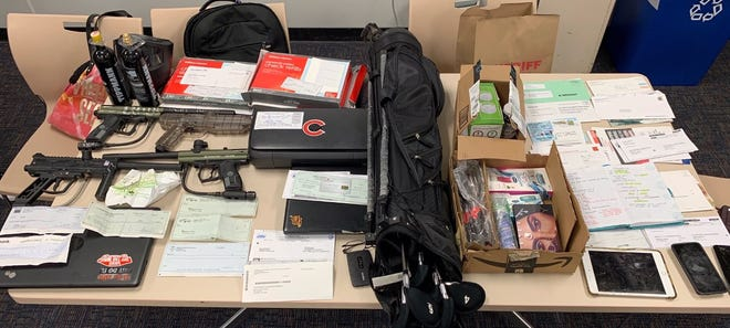 Items seized by Ventura County sheriff's deputies in investigation of Oxnard-based mail and identity theft crew.