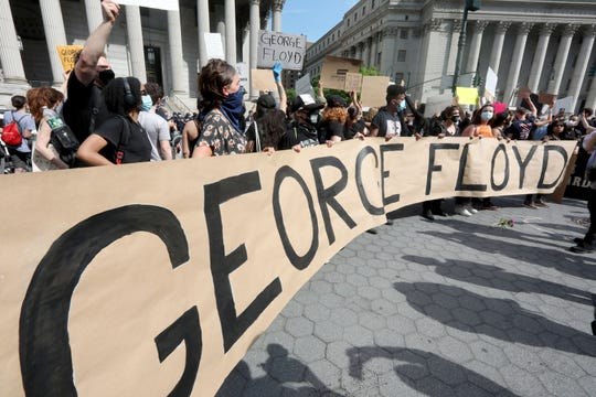 Hundreds of people gathered in Foley Square in lower Manhattan May 29, 2020 to protest the death of George Floyd in Minneapolis earlier this week.
