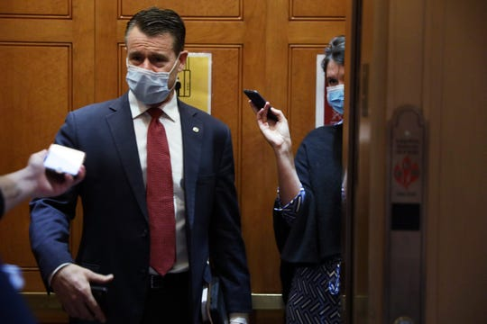 U.S. Sen. Todd Young, R-Ind., speaks to reporters after a vote at the U.S. Capitol May 14, 2020 in Washington, DC.