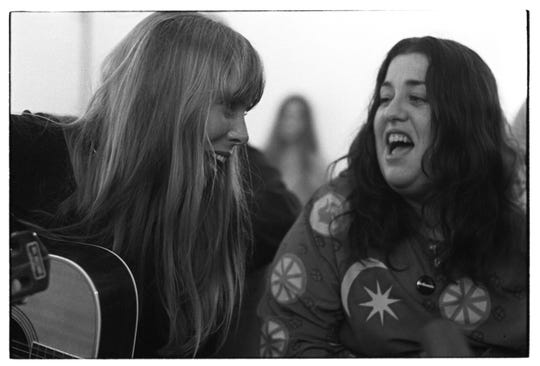 """Joni Mitchell, left, and Cass Elliot. Mitchell's 1970 album """"Ladies of the Canyon"""" was inspired by Laurel Canyon, a music mecca in the Hollywood Hills during the late '60s and '70s."""