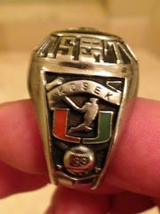 Rick Kosek's championship ring from the University of Miami (Fla.) baseball team in 1985.